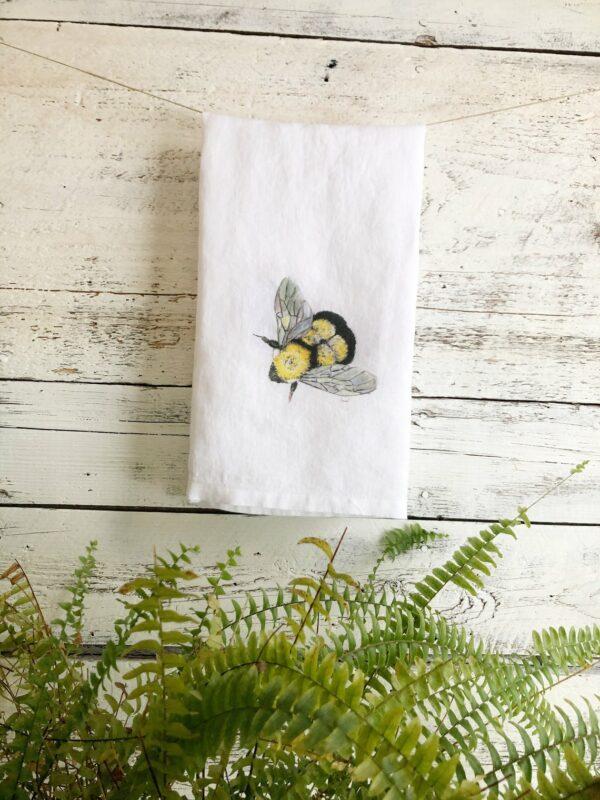 French Linen Bumblebee Flying Tea Towel By Emma Pyle