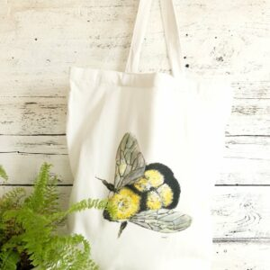 Reusable Bumblebee Flying Cotton Tote Bag By Emma Pyle