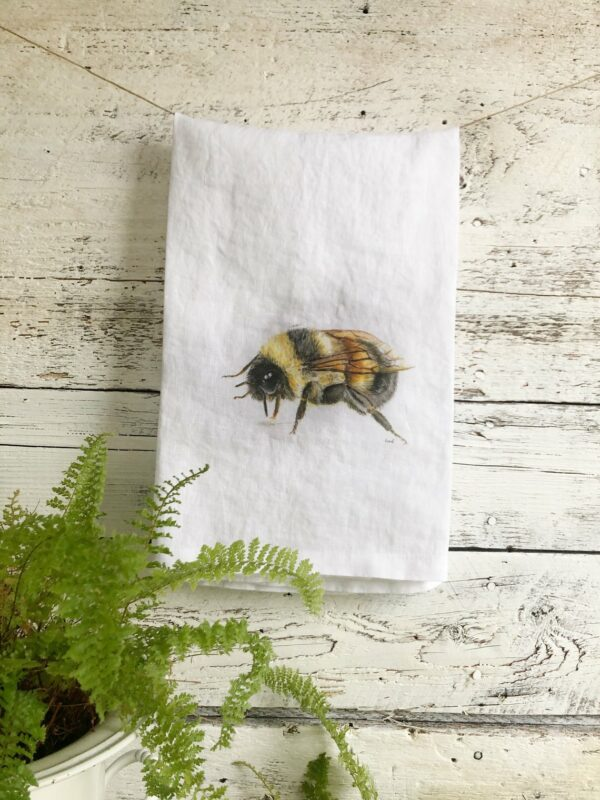 French Linen Bumblebee Sitting Tea Towel By Emma Pyle