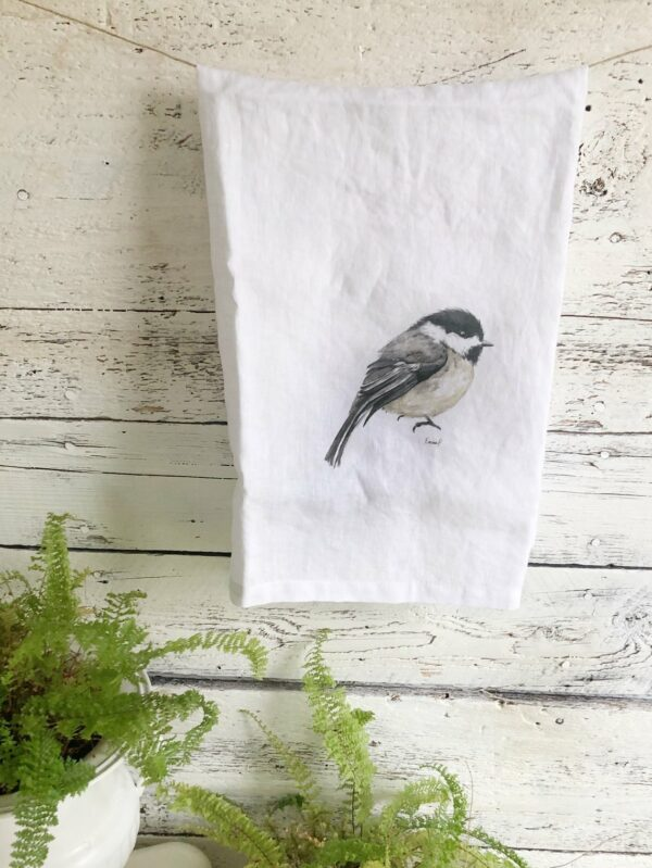French Linen Chickadee Tea Towel By Emma Pyle