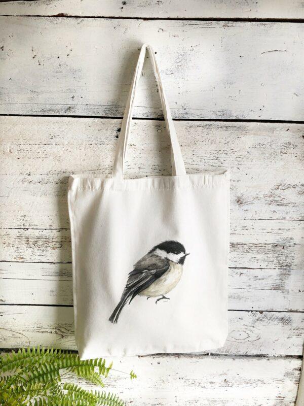 Reusable Chickadee Cotton Tote Bag By Emma Pyle