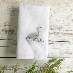 French Linen Heron Tea Towel By Emma Pyle