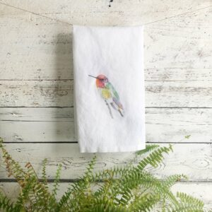 French Linen Hummingbird Side View Tea Towel By Emma Pyle