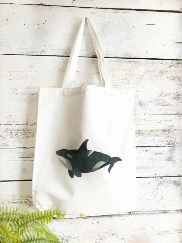 Reusable Orca Cotton Tote Bag By Emma Pyle