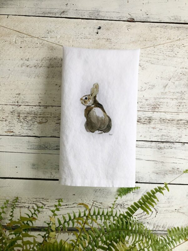 French Linen Rabbit Tea Towel By Emma Pyle