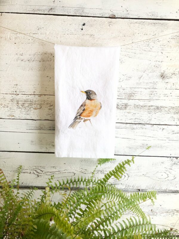 French Linen Robin Tea Towel By Emma Pyle