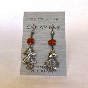 Sterling Silver Garry Oak and Amber Earrings By Susan Ellenton