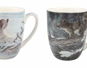Robert Bateman Woodland Animals Squirrel & Rabbit Mug Pair