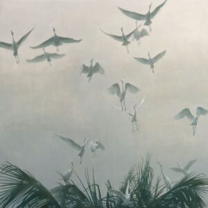 Egrets of the Sacred Grove - Bali Signed Limited Edition Giclee Canvas Print by Robert Bateman