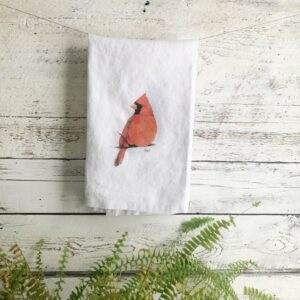 French Linen Cardinal Tea Towel by Emma Pyle