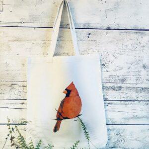 Reusable Cardinal Cotton Tote Bag by Emma Pyle