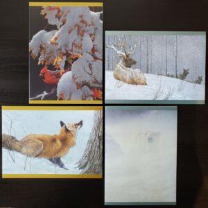 Set of 4 Robert Bateman Winter Holiday Cards by CWF