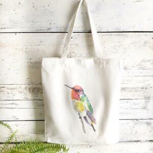 Reusable Hummingbird Cotton Tote Bag by Emma Pyle