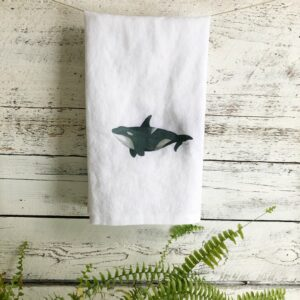 French Linen Orca Tea Towel by Emma Pyle
