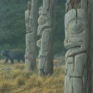Totems and Bear - Signed Limited Edition Print by Robert Bateman