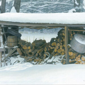 Woodshed in Winter - Ermine - Signed Limited Edition Print by Robert Bateman